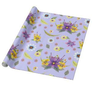 Pretty purple, yellow and white watercolor flowers wrapping paper
