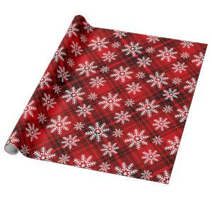 Pretty Snowflakes on Plaid | red Wrapping Paper