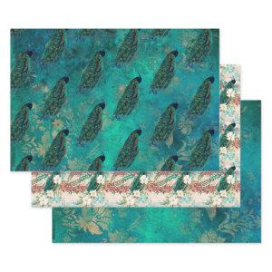 Pretty Teal Peacock Wrapping Paper Sheets