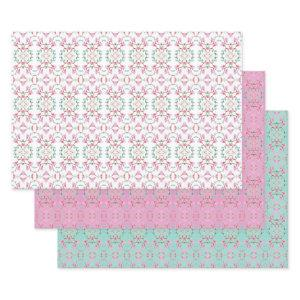 Pretty Teal Pink and White Sheet Paper Gift Wrap