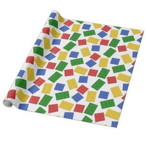 Primary Colors Toy Building Bricks Pattern Print Wrapping Paper