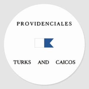 Providenciales Turks and Caicos Alpha Dive Flag Classic Round Sticker