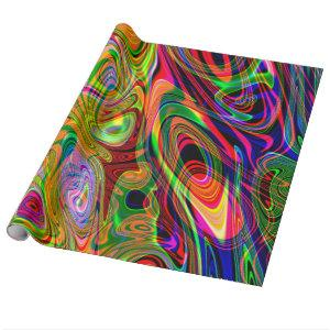Psychedelic Florescent Abstract Twirls Wrapping Paper