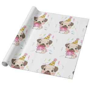 Pug Birthday Cute Dog Pattern Wrapping Paper