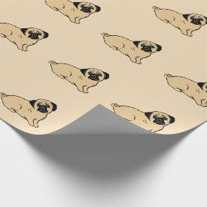 Pug Pattern Creme Wrapping Paper