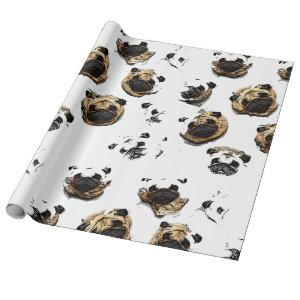 Pug Pattern wrapping paper bywhacky