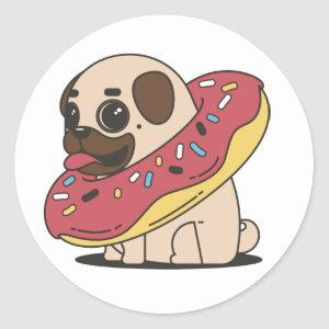 Pugnut in a doughnut donut sticker