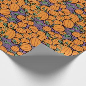 Pumpkin Harvest on Purple Wrapping Paper