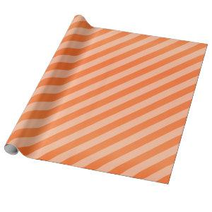 Pumpkin Orange and Diagonal Stripes Wrapping Paper