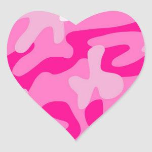 Punk Pink Camo Heart Sticker