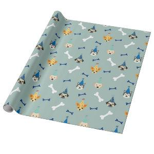 Puppy Birthday Party, Kids and Pets Wrapping Paper