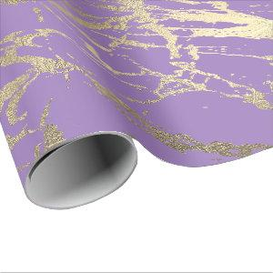 Purple Amethyst Foxier Gold Marble Shiny Glam Wrapping Paper