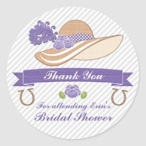 PURPLE AND GRAY DERBY THEMED SHOWER THANK YOU CLASSIC ROUND STICKER