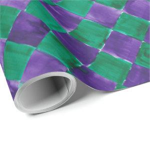 Purple And Green Diamond Pattern Birthday Wrapping Paper