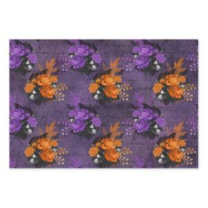 Purple and Orange Roses Wrapping Paper Sheets