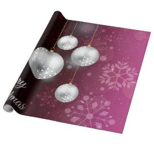 Purple and silver christmas tree balls wrapping paper