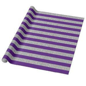 Purple and Silver Glitter Stripes Wrapping Paper