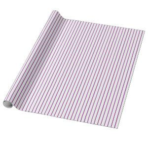 Purple and White Pinstripe Wrapping Paper