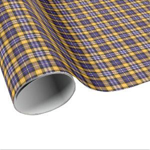 Purple and Yellow Gold Sporty Plaid Wrapping Paper