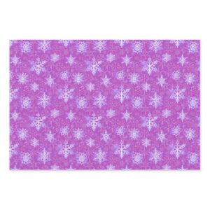 Purple Christmas Holiday Snowflake Pattern Wrapping Paper Sheets