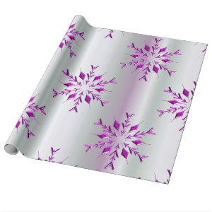 Purple Christmas Snowflakes Wrapping Paper