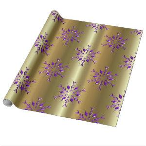 Purple Christmas Stars on Gold Wrapping Paper