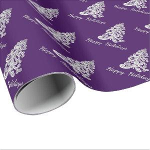 Purple Christmas Tree Happy Holidays Choose Color Wrapping Paper
