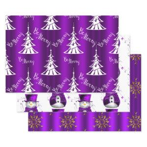 Purple Christmas Wrapping Paper Sheets