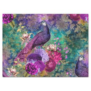 Purple Crowned Peacock with Flowers Decoupage Tissue Paper
