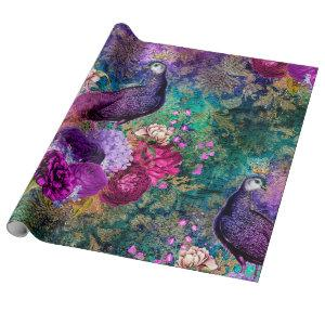 Purple Crowned Peacock with Flowers Wrapping Paper