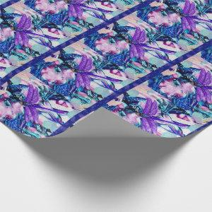 Purple dragonfly wrapping paper
