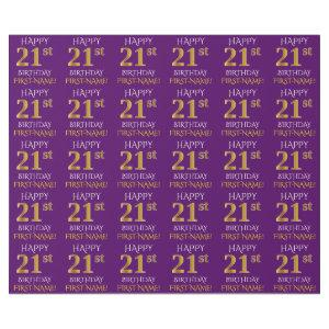 """Purple, Faux Gold """"HAPPY 21st BIRTHDAY"""" Wrapping Paper"""