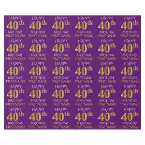"Purple, Faux Gold ""HAPPY 40th BIRTHDAY"" Wrapping Paper"