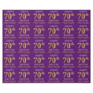 "Purple, Faux Gold ""HAPPY 70th BIRTHDAY"" Wrapping Paper"