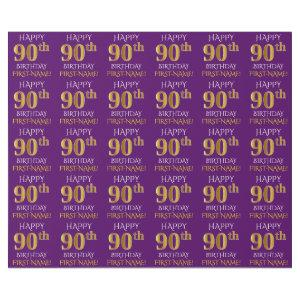 "Purple, Faux Gold ""HAPPY 90th BIRTHDAY"" Wrapping Paper"