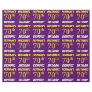 "Purple, Faux/Imitation Gold, ""70th BIRTHDAY"" Wrapping Paper"