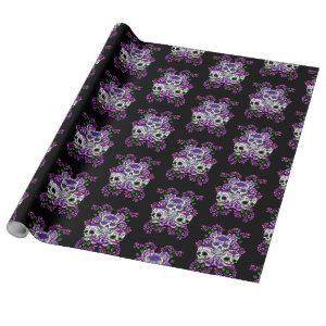 Purple Floral Triple Day Of The Dead Sugar Skulls Wrapping Paper