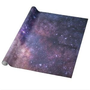 Purple galaxy background wrapping paper