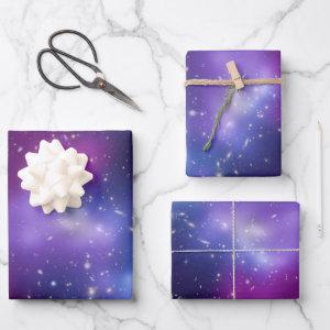 Purple Galaxy Cluster Black Purple Celestial Photo Wrapping Paper Sheets