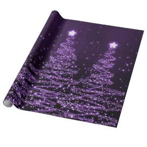 Purple Glitter Christmas Trees Holiday Wrapping Paper