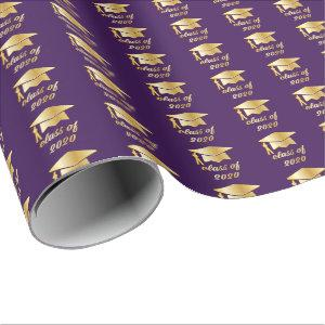 Purple Gold Class of 2020 Graduate Cap Graduation Wrapping Paper