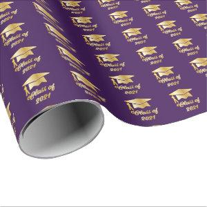 Purple Gold Class of 2021 Graduate Cap Graduation Wrapping Paper