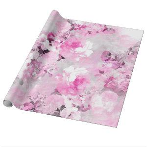 Purple grey floral watercolor romantic flowers pat wrapping paper