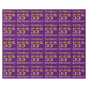 "Purple, Imitation Gold Look ""55th BIRTHDAY"" Wrapping Paper"