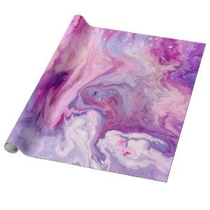Purple Liquid Marbled Agate Wrapping Paper