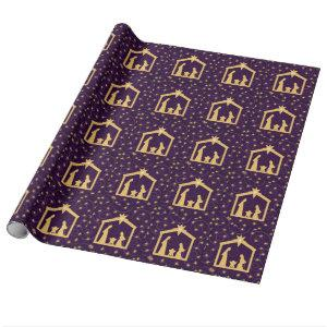 Purple Majesty Christmas Nativity Scene Wrapping Paper