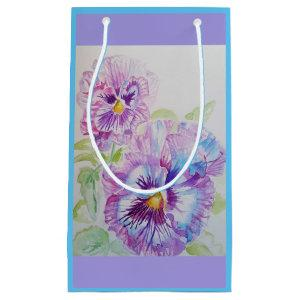 Purple Pansy lilac Watercolour floral Gift Bag