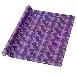 Purple Pearl Mermaid Dragon Scales Pattern Holiday Wrapping Paper