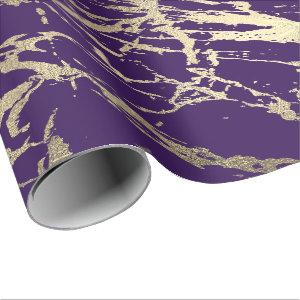 Purple Plum Foxier Gold Marble Shiny Glam Wrapping Paper