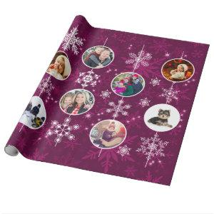 Purple Snowflake Ten Favorite Family Photos Wrapping Paper